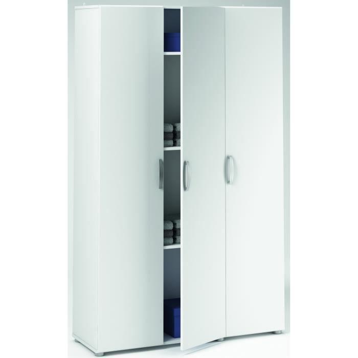 ARMOIRE DE CHAMBRE Armoire blanche multifonctions 3 portes, L 101 x H