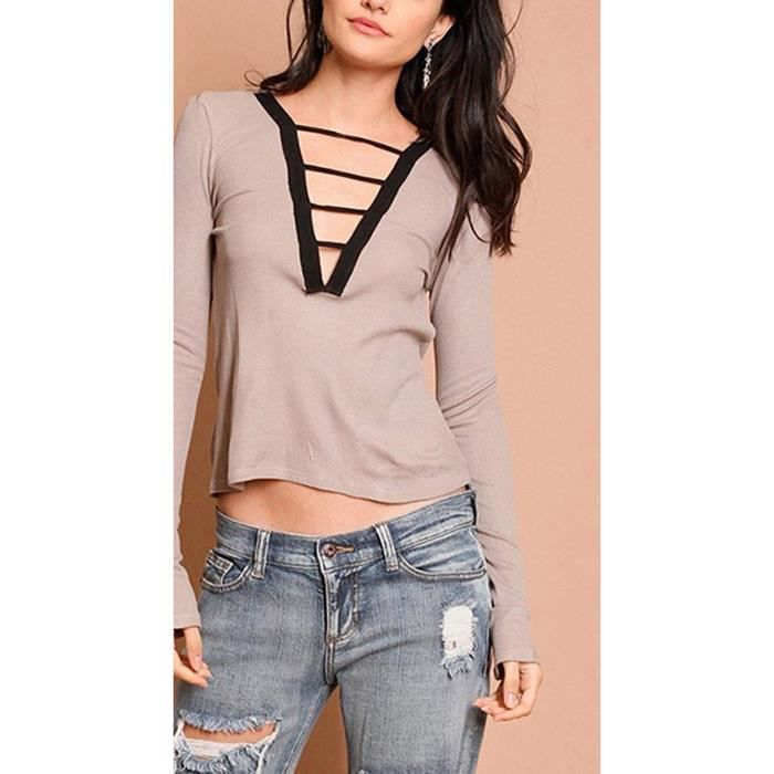 V shirt Femme Tops Bande Blouse Bandeau T Tomwell Hauts Longues Col Pullovers Manches 7gyb6f
