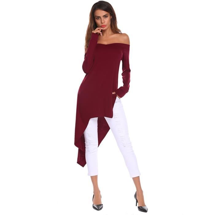 High Slit Low 38 Shirt Taille Long Slim Women's Fit Sexy Neck Side Tops Off Blouse V Sleeve R2ho7 shoulder w4gAABOqP7