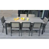 SALON DE JARDIN 8 PLACES ALU BOIS COMPOSITE BROOKLYN - Achat ...