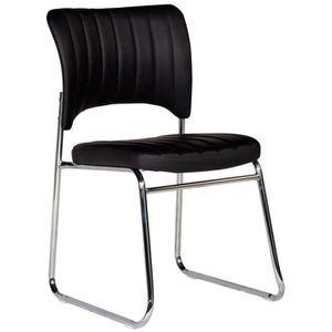 CHAISE Chaise Moderne En Pvc Noir Et Pied Acier Chrom