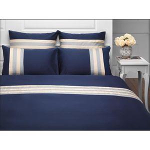 housse de couette 220x240 bleu marine achat vente. Black Bedroom Furniture Sets. Home Design Ideas