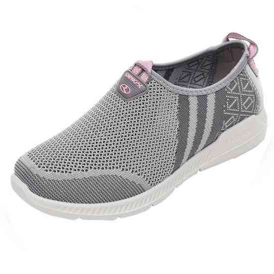 Mode femmes Zip bout rond pompes-Slip On travail confortable chaussures à talons hauts@Or Gris Gris - Achat / Vente slip-on