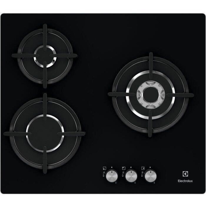 ELECTROLUX EGT6633NOK - Plaque de cuisson gaz - 3 foyers - 7900W - L56 x P48 x H4,5cm - Revêtement v