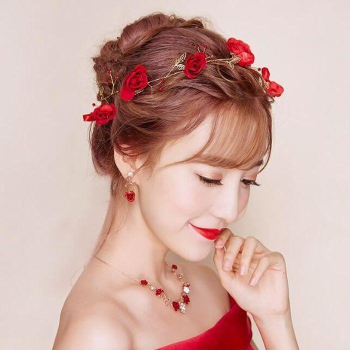 BANDEAU - SERRE-TÊTE accessoires cheveux pour mariage headband rouge mo 94697b31305