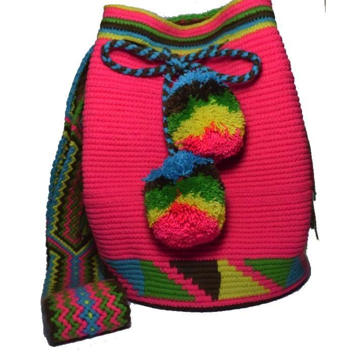 Mochila Wayuu ethnique 100% Sac à bandoulière tissé à la main multicolore RD5CF