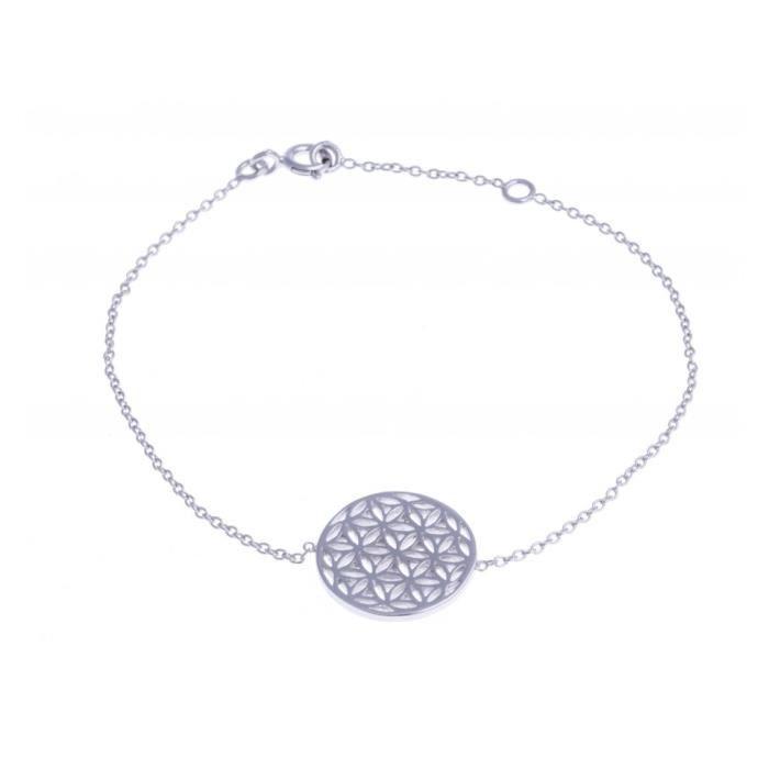 Bracelet argent rhodié - fleur de vie - 16+2cm Argent