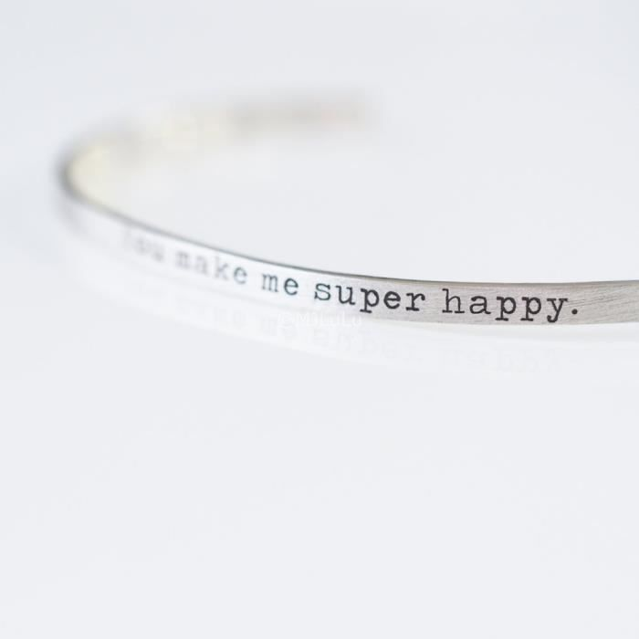 Craze You Make Me de Super Heureux Positive Daily Message de rappel Cuff Bracelet