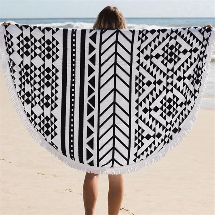 Serviette de plage ronde en coton 100% large 150x150cm motif ...