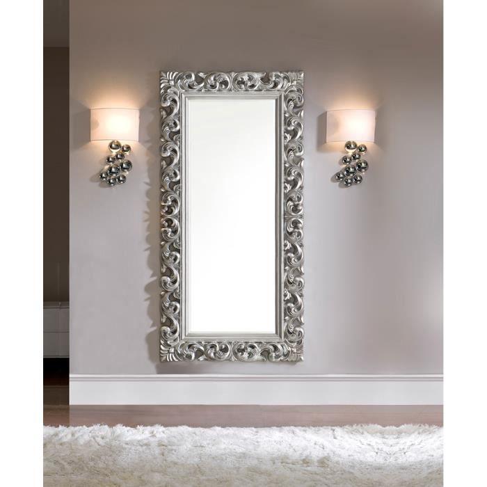 Miroir mural en gris ou dor laqu design dawn gris argent for Miroir gris argent