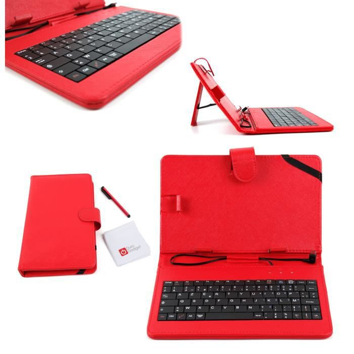 Etui rouge + clavier pour tablette Huawei MediaPad 7 Youth ...