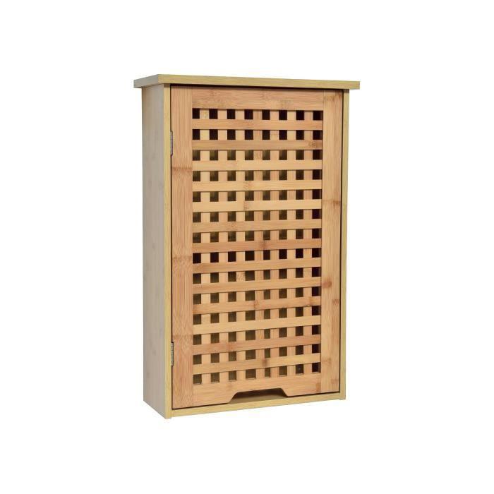 Meuble Haut De Salle De Bain En Bambou 1 Porte 1 étagère