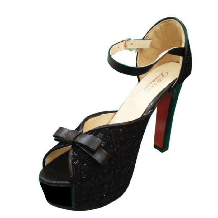 Escarpins a Talons Hauts Bout Ouvert Femmes Avec Plateforme Bride Cheville Chaussures de Soiree Fashion o0btAuG9B2
