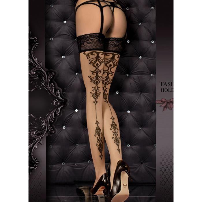 Bas Motif Style Tatouage Noir Et Dentelle Elegant Sexy Burlesque