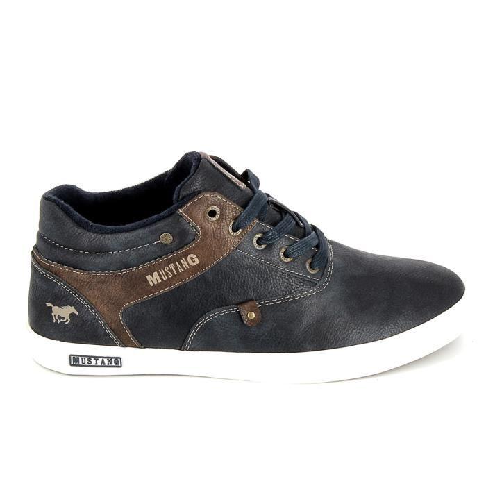 Chaussure de ville MUSTANG Sneakers Mid 4120501 Marine Marron