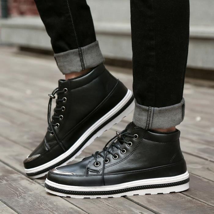 Hommes En Montantes Laine Chaud Chaussures Bottes Casual Pour Cuir Fv44wndaqt