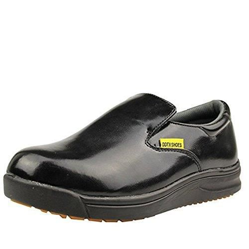 Slip And Oil Resistant Slip-on Mens Work Shoes Black TFVNL Taille-42