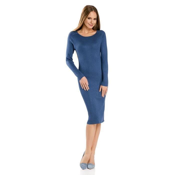 bfcf9b4b510 Rib Robe en maille pour femmes 3DPWOC Taille-38 Bleu Bleu - Achat ...