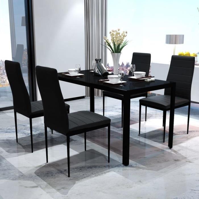 Ensemble de table pour salle à manger meubles cuisineTable de Cuisine avec  4 Chaises cinq pièces Set de 1 table et 4 tabourets noir
