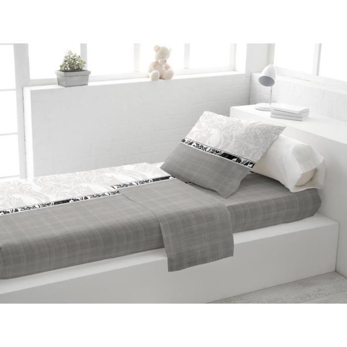 parure lit 1 place loriane gris achat vente parure de drap soldes d s le 10 janvier cdiscount. Black Bedroom Furniture Sets. Home Design Ideas