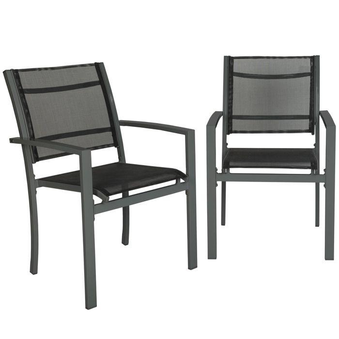 2 Chaises de Jardin, de Camping ou de Salon en Métal et Tissu ...