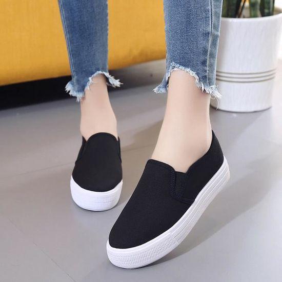 Banconre®Femmes Bottes Chaussures Plate-Forme Slip On Bottines chaussures Fashion Flat avec des chaussures Bottines occasionnelles LJD80312892BK Noir Noir Noir - Achat / Vente slip-on 2e55c0
