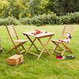 Salon de jardin enfant 2 places en Acacia : 1 table carrée + 2 ...