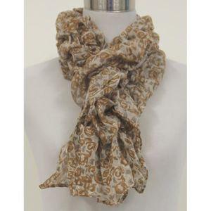 Foulard liberty fleurs marron taupe élastiqué visc Marron - Achat ... 12c57f9d7b7