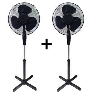 VENTILATEUR 2 Ventilateurs sur Pied - Noir - 40cm