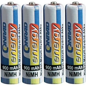 PILES 4 accus AAA (R03) NiMH 1,2V 900 mAh Conrad energy
