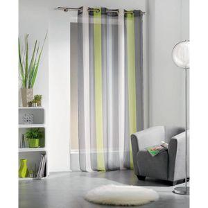 rideaux voilage vert anis achat vente rideaux voilage. Black Bedroom Furniture Sets. Home Design Ideas