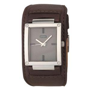 montre bracelet cuir guess,Guess Montre GUESS emme bracelet cuir noir fond  argent Femme: Amazon.fr: Montres
