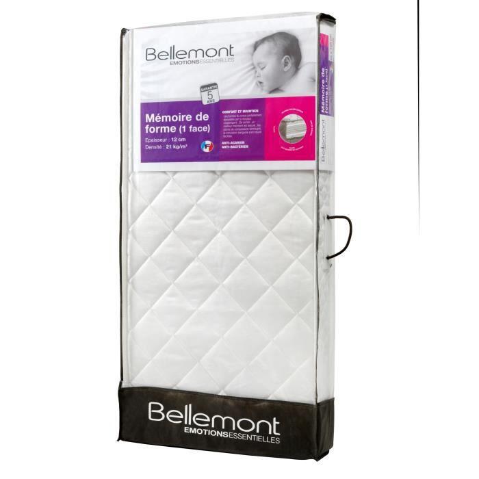 BELLEMONT Matelas Bébé - 70x140x12 cm - Mémoire de Forme - Déhoussable