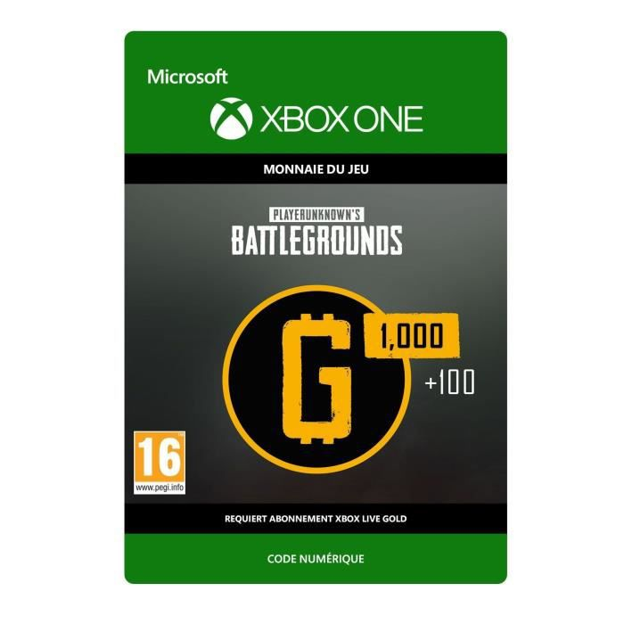 DLC PlayerUnknown's Battlegrounds : 1 100 G-Coin pour Xbox One