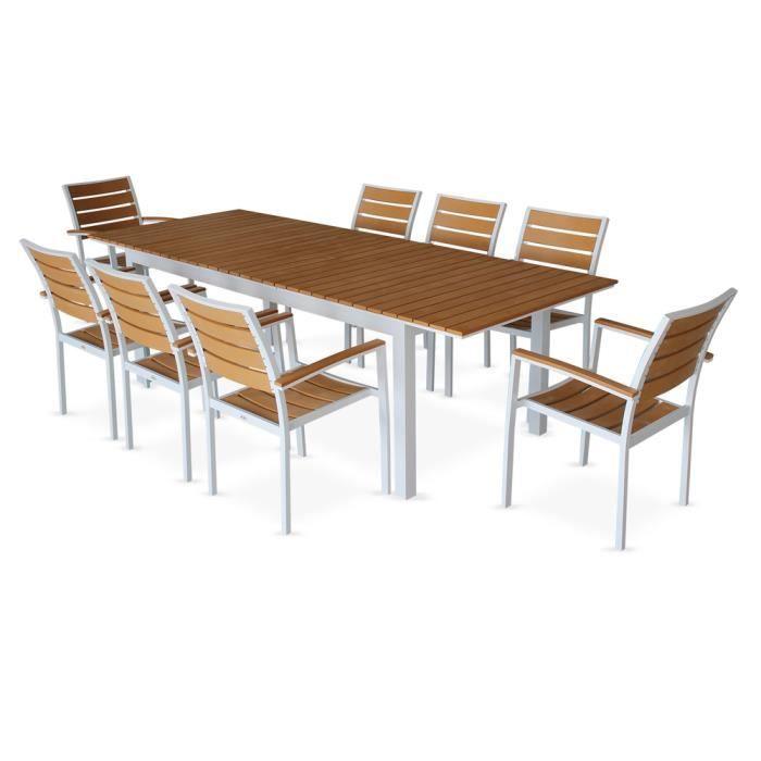 Salon de jardin 8 fauteuils, table à rallonge extensible 205-260cm ...