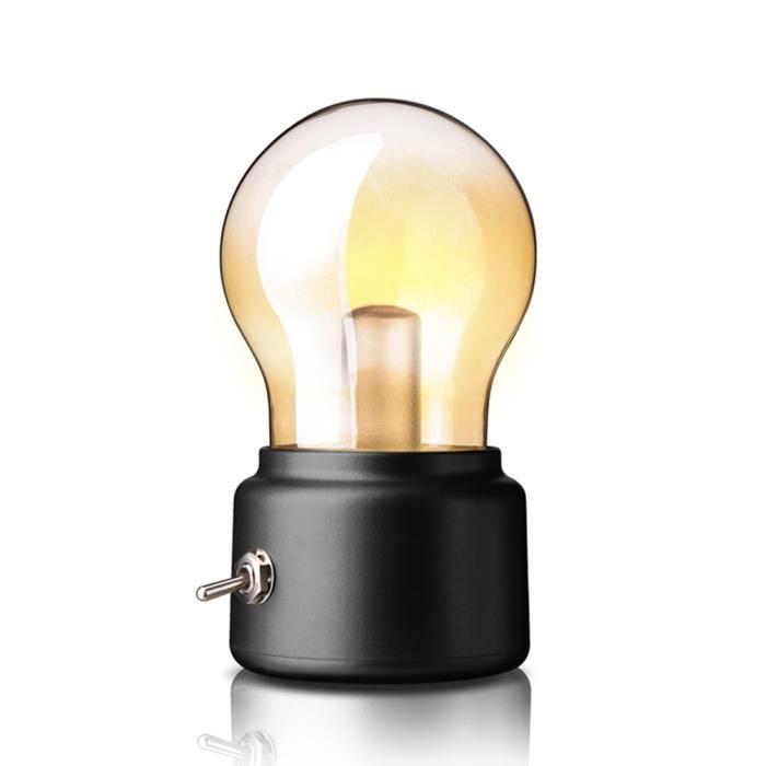 A Design Poser Ampoule 7cm 5v 11cm Lampe De Led 500ma Port 6cm Avec Usb Noir Bureau 80mNnw
