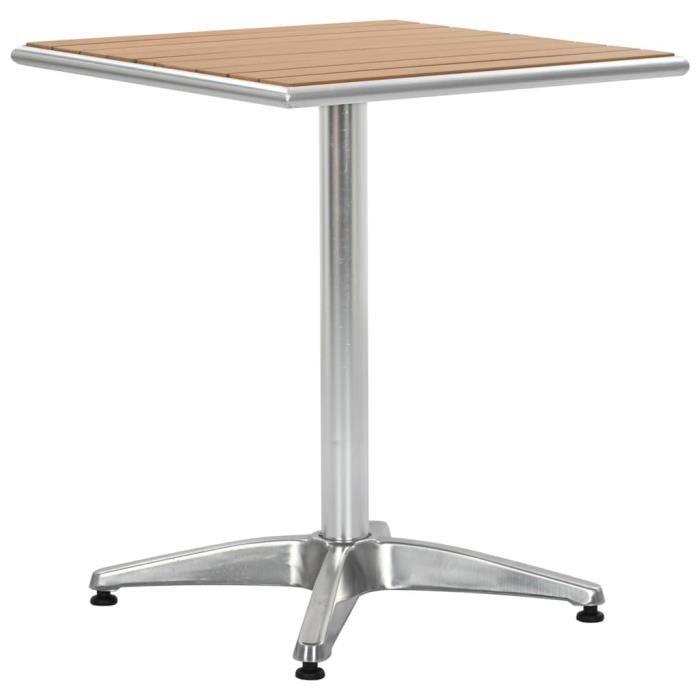 Table de jardin Argenté 60x60x70 cm Aluminium et WPC