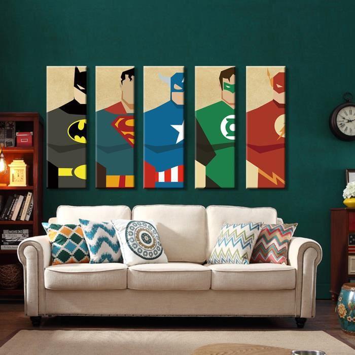 5 pièces toile imprimer superhéros Superman peinture murale ...
