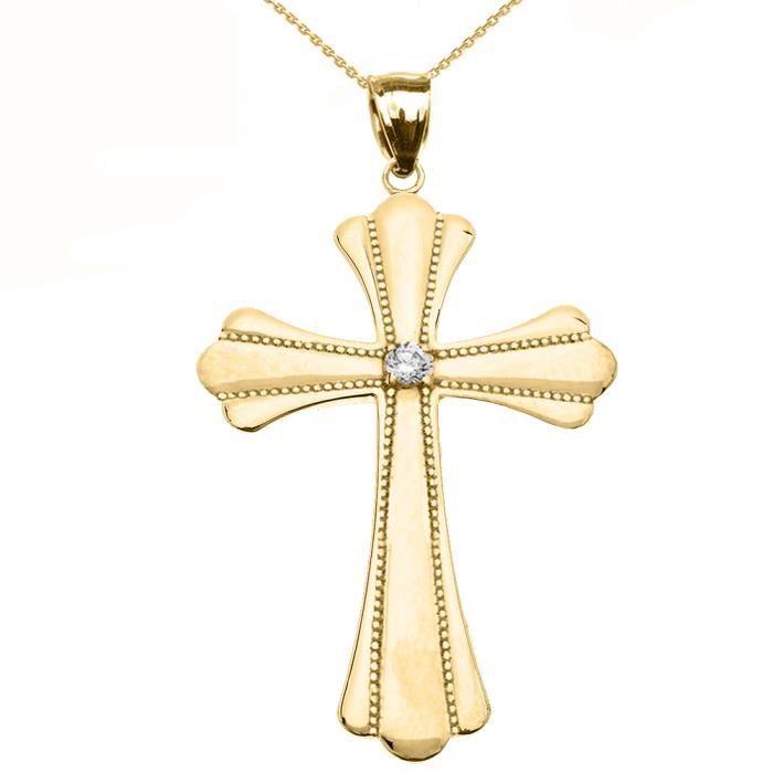 Collier Femme Pendentif 10 Ct Or Jaune Solitaire Oxyde De Zirconium Poli Élevé Milgrain Croix (Large) (Livré avec une 45cm Chaîne)