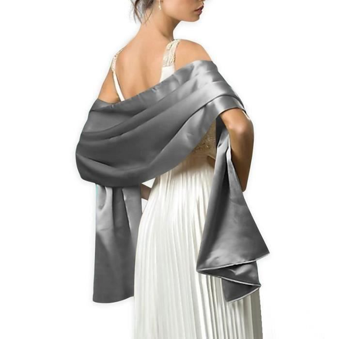Écharpe Femme Châle Foulard Étole Pashmina en Satin Unicolore Elegant  Soirée Bal Mariage Cadeau Grande Taille 175x70cm Gris argenté 38950ca024f