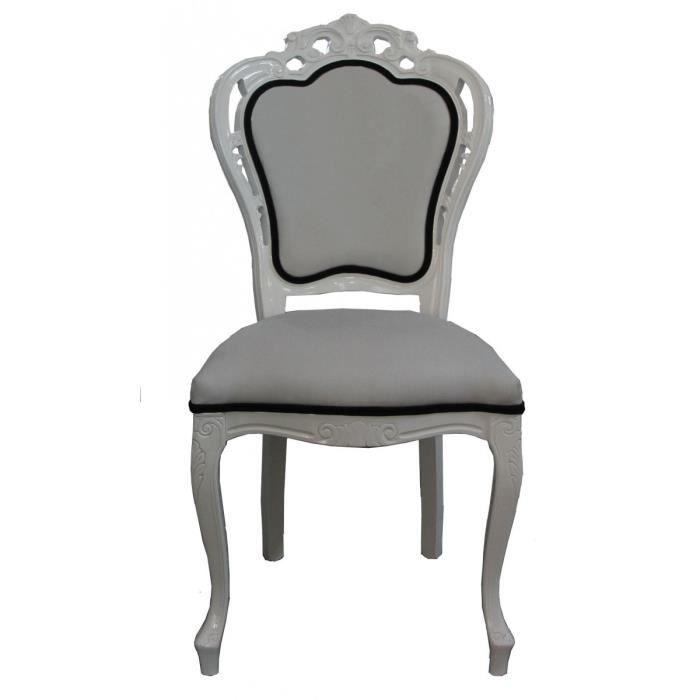 Luxe Noir Dîner Baroque Chaise En Blanc Padrino Casa 3L45RAj
