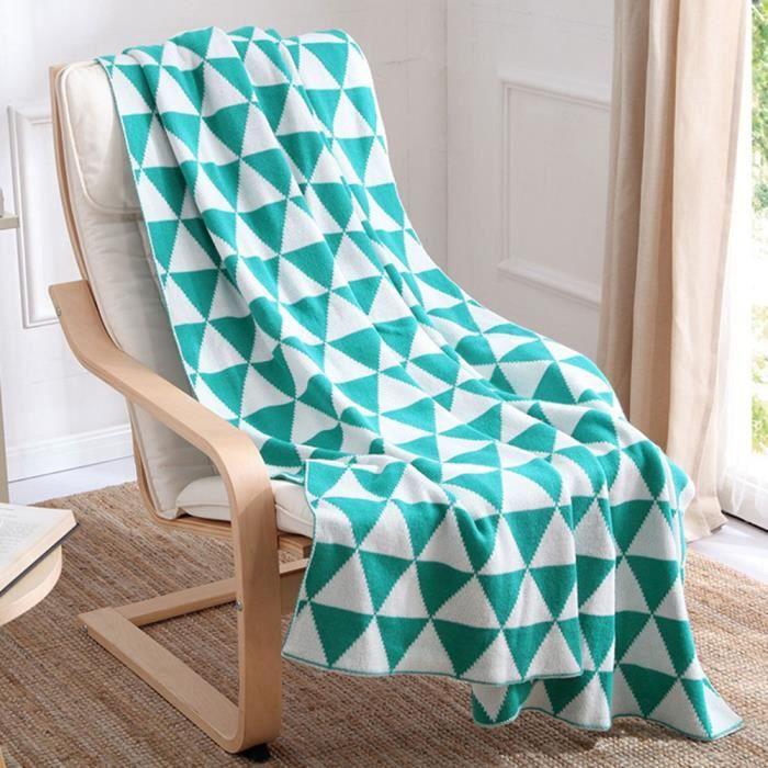 plaid pour sofa en tricot couverture jet de canap lit l ger motif g om trique pour quatres. Black Bedroom Furniture Sets. Home Design Ideas