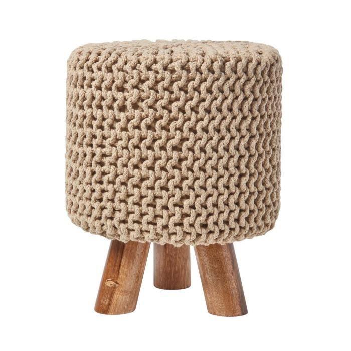 Pouf tressé en tricot et pieds en bois Beige - Achat   Vente pouf ... bf994458572