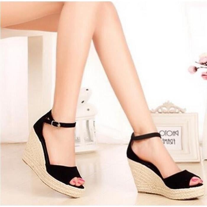 SANDALE - NU-PIEDS Fashion Femmes Paille Sandales plateforme Chaus...