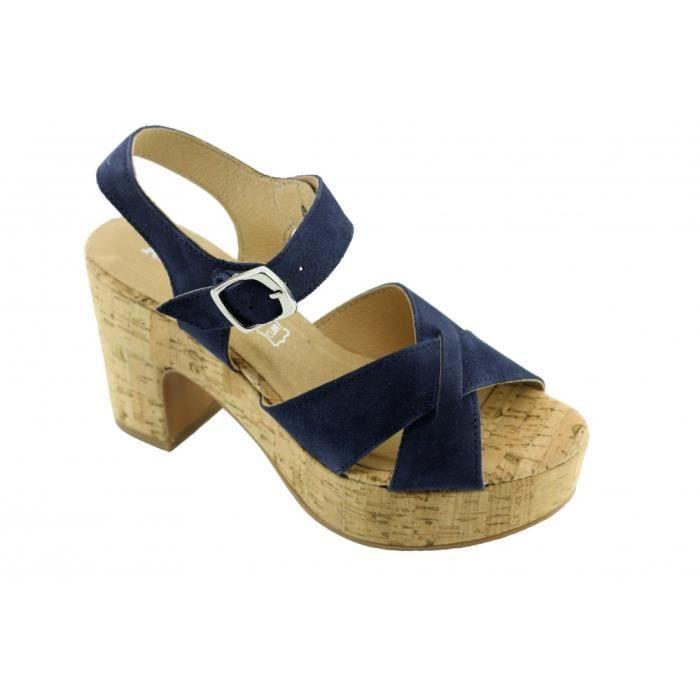 Jenifer - Sandale pour Femme talon compensé chaussures plateformes marque Angelina fabriqué en Espagne cuir bleu foncé