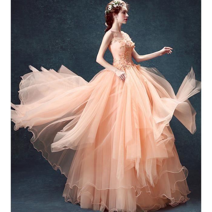8c3572242cc Robe Longue de princesse femmes Pour Cérémonie Mariage Cocktail Soirée  Orange clair WK533