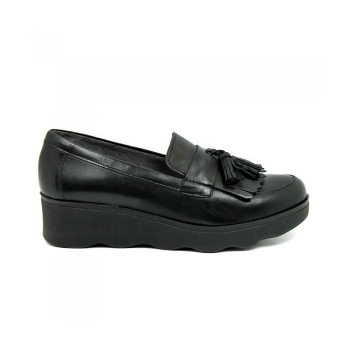 PITILLOS Chaussures Mocassin - Glands - Cuir - Noir - Taille - Trente-neuf Femme Ref. 1842_18136