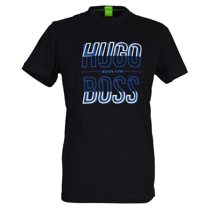 497a3a4620fd T-Shirt Hugo Boss manches courtes pour hommes. 50333773 noir. Noir ...