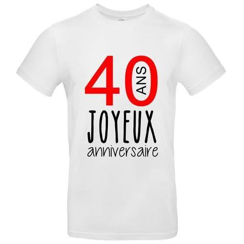 T Shirt Premium Homme Blanc Joyeux Anniversaire 40 Ans Blanc