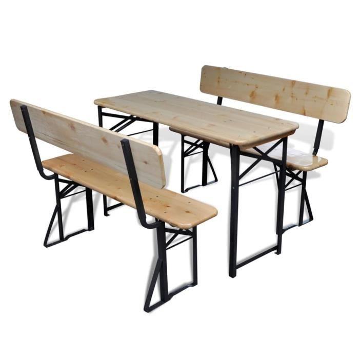 Table avec 2 bancs 118 cm Bois de sapin Pliable - Achat / Vente ...